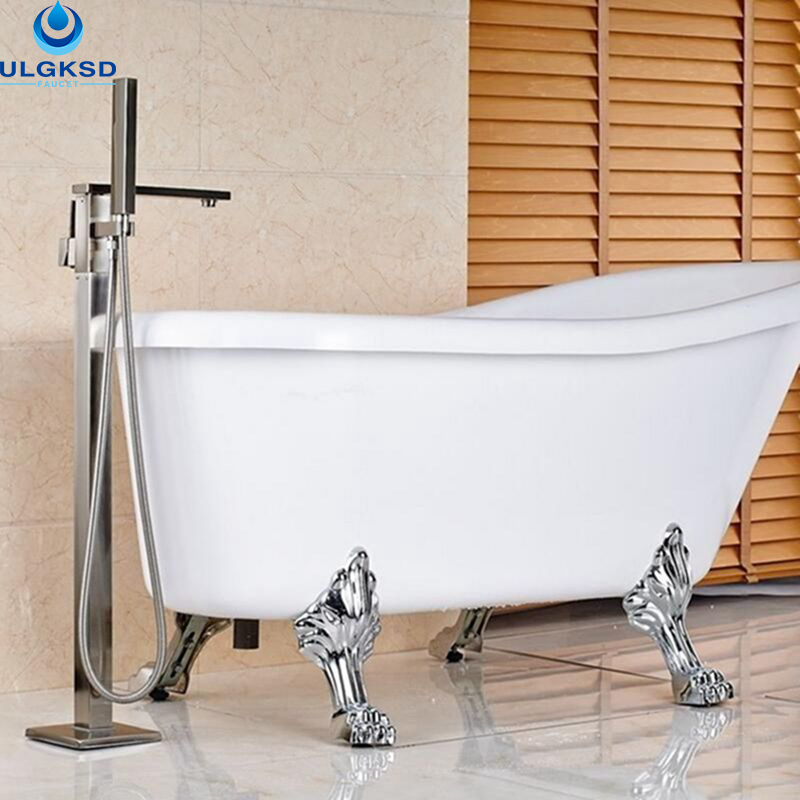 Ulgksd Wholesale and Retail Bathroom Faucet W/Hand Shower Mixer Tap Floor Mount Multi Choice Bathtub Tub Faucet Tub Filler