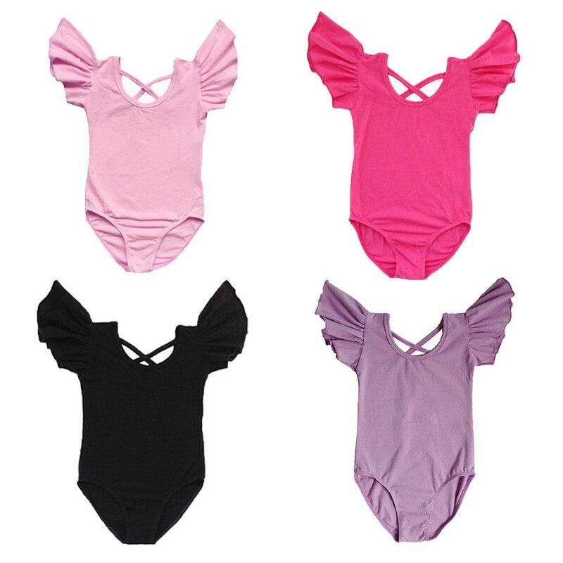 2018 4 ألوان للبنات بدلة الجمباز بدلة تزلج ملابس طفل أطفال الجمباز ثياب Unitards ملابس الرقص SZ 3-14 سنوات