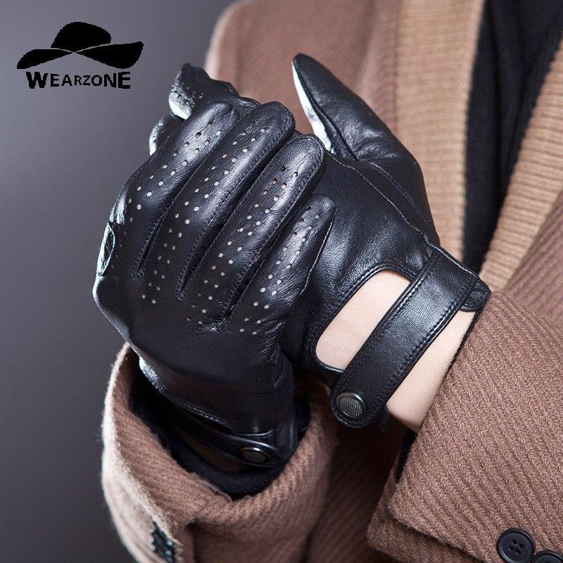 2017 hommes gants en cuir mitaines trou bouton respirant chèvre véritable cuir hommes conduite gants mâle mode gants gaufrage