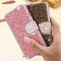 Case para iphone 7 6 kisscase 6 s plus 5 5S se glitter strass carteira com slot para cartão tampa flip luxo para samsung s7 edge Capa