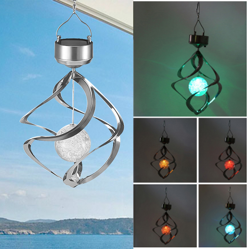 Solar Lights LED Outdoor Wind Chimes Color Changing Hanging Light Spiral Spinner Lamp Decoration for Garden Patio Balcony Indoor (26)