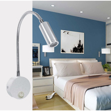 Three styles1W 3W LED Hoses Wall Lamp Flexible Home Hotel Bedside Reading Lamp Wall Light Modern Fashion Book Lights  LED Bulbs