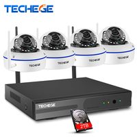 Techege 4CH Wireless 1080P NVR Play Plug 720P HD System Outdoor 1 0mp IP WIFI Camera