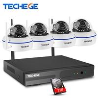 Techege 4CH Wireless 1080P NVR Play Plug 720P HD System Outdoor 1 0mp IP WIFI Camera