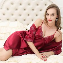 Sexy Silk Women's Dress + Bathrobe Two Pieces Sleep Set Luxury Lace Satin Sleepwear Silk Night Dress Robe & Gown Sets For Women
