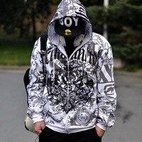 European size hiphop sweatshirt men 2019 apring and autumn male cotton hoodies plus size outerwear brushed loose zipper