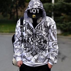 Image 1 - European size hiphop sweatshirt men 2020 new spring and autumn male cotton hoodies plus size outerwear brushed loose zipper