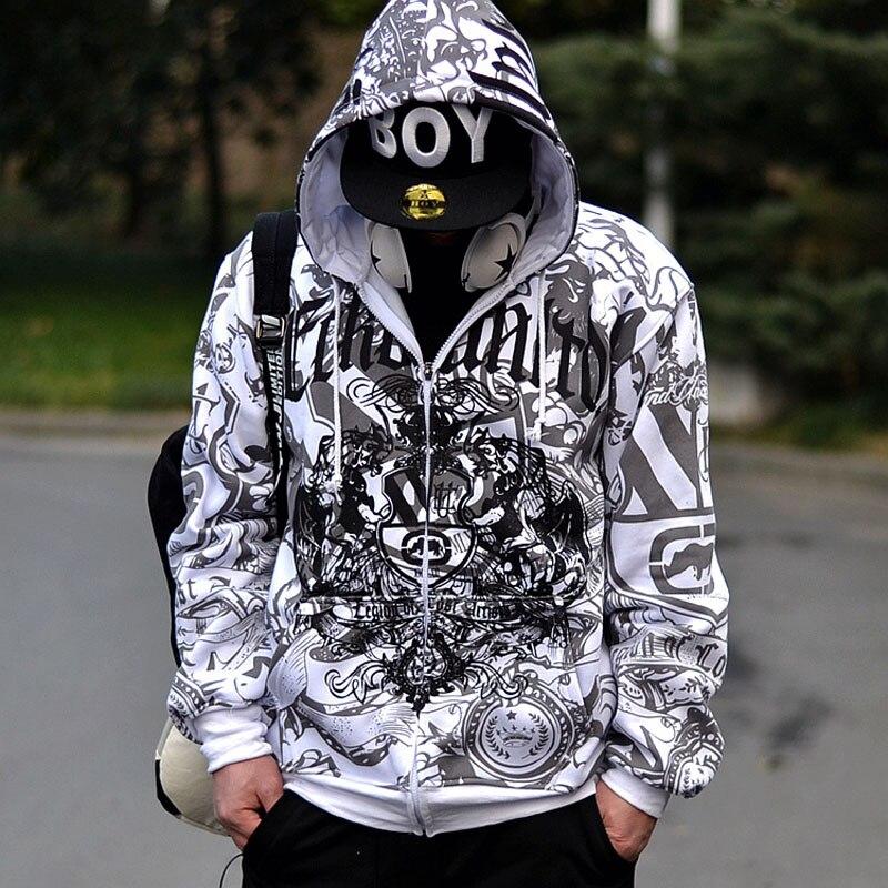 Taille européenne hiphop sweat hommes 2019 apring et automne mâle sweat à capuche en coton grande taille vêtements d'extérieur brossé lâche fermeture à glissière