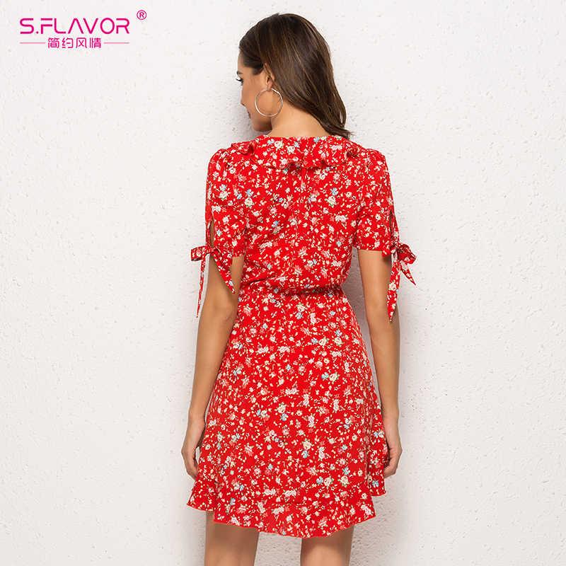 S.FLAVOR Ruffled Wrap 섹시한 시폰 미니 드레스 여성 짧은 소매 프린트 Vestidos 빈티지 여성 2020 여름 V 넥 비치 드레스