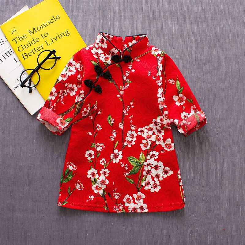 Summer New Children's Clothing Baby Girls Treasure 0-4y Pink Flowers And Birds Chinese Cheongsam Half-necked Collar Buckle Dress