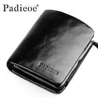 Padieoe Crazy Horse Genuine Leather Three Fold Wallet Men Black Luxury Brand Short Men Wallet Fashion