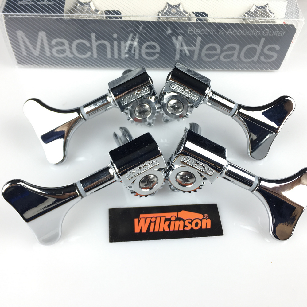 NEW wilkinson Electric Bass Guitar Machine Heads Tuners Guitar Tuning Pegs Open Gear WJB-750 Chrome Silver ( without packaging ) 50pcs lot bass guitar pickguard screws guitar guard screw for electric guitar bass 3 12mm chrome silver black gold