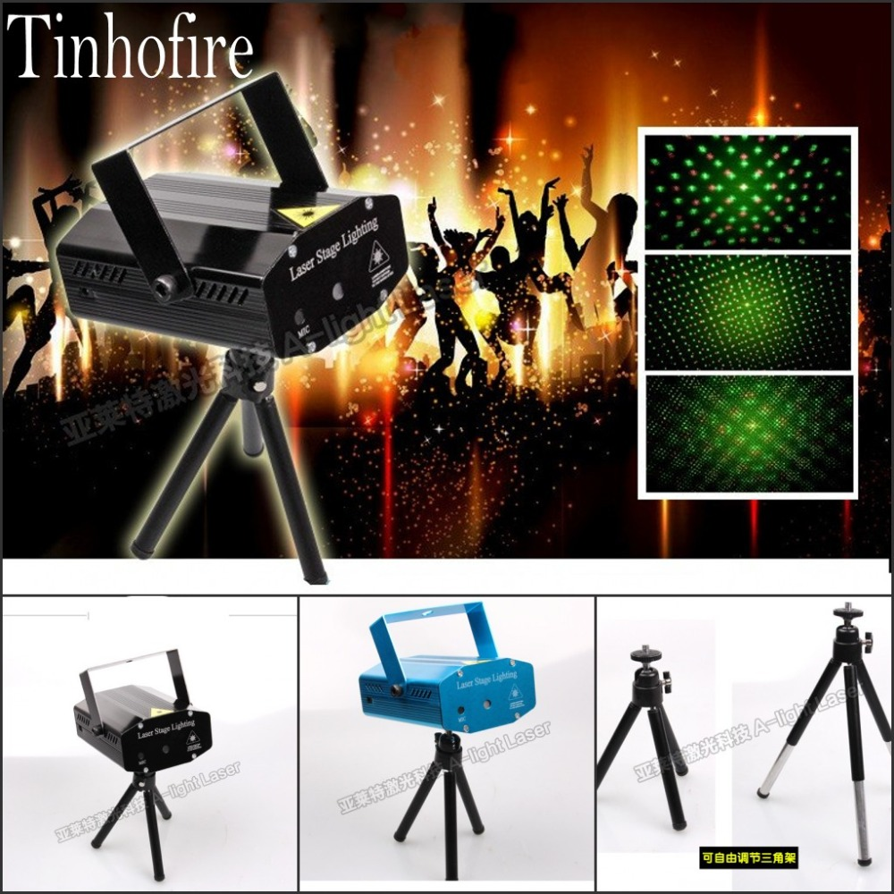 Tinhofire A-01S Mini LED Stage Light Lamp R&G Laser Stage Lighting Sound Control DJ Disco Party KTV with Telescopic bracket ...