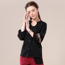 Women Loose Linen Shirt 2016 New Long Sleeve Plus Size National Wind Carp Embroidery Spring Black Burgundy Blouses Shirts