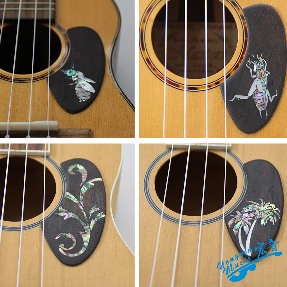 White Pearl Color Comma Shell Self Sticking Pickguard For Acoustic
