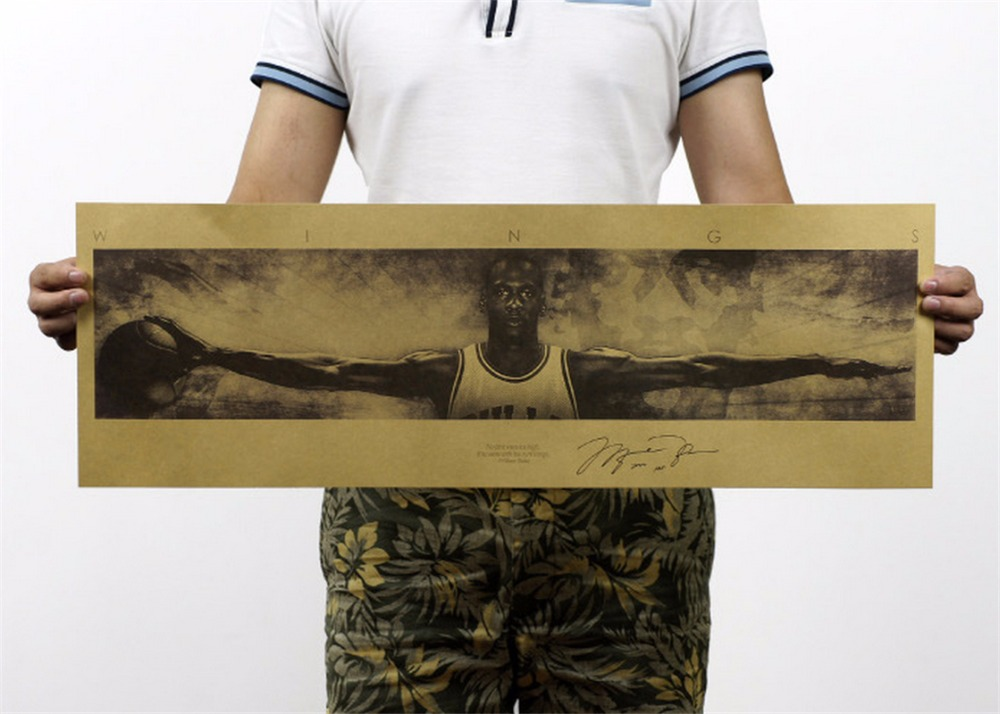 6eeeded0949e Detail Feedback Questions about Home Decor Vintage Michael Jordan Wings MJ  23 Poster Retro Kraft Paper NBA Basketball Star Painting Wall Sticker  72.5x24cm ...