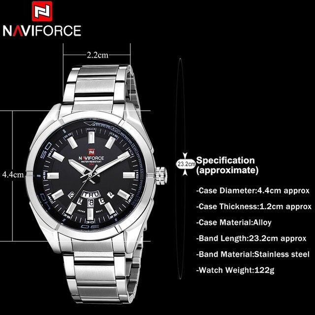 NAVIFORCE Brand Men Watches Business Quartz 30M Waterproof Watches Men's Stainless Steel Band Auto Date Wristwatches Relojes 5