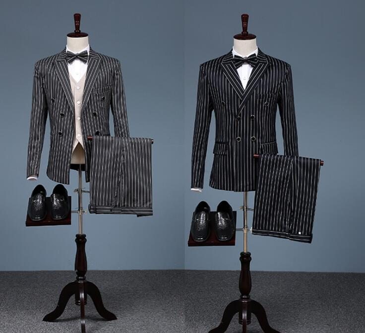 England retro chorus double breasted wedding suits for men stripe blazer boys prom suits slim masculino latest coat pant designs