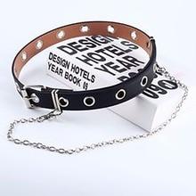 Women Punk Chain Fashion Belt Adjustable Black Double/Single Eyelet Grommet Leather Buckle new