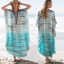 Tunics For The Beach Pareo Mesh Cover Up Swimsuit Women Women's Swimsuits Dress On Woman New Chiffon Robes Shading Printed Lace