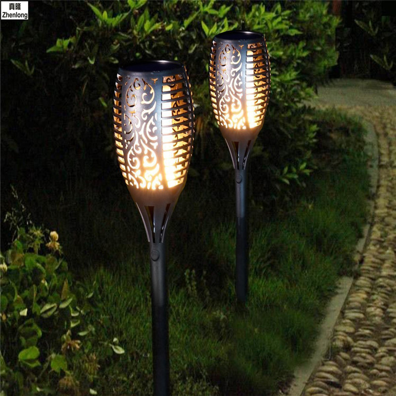 Solar Powered Stainless Steel Waterproof LED Outdoor Garden Light Landscape Yard Lawn Path Lamp Torch Light Single Crystal Plate huayang outdoor solar powered led lamp lighting garden path wall fence lawn warm white light