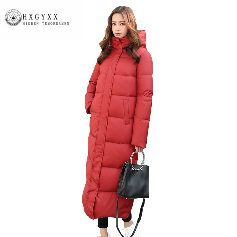 White duck down Women Winter Down jacket high quality Fashion Thick Warm Big yards Female Parka New Hooded Slim Long Coat ZX0223 s xl thick warm long women winter coat 2016 fashion down coat with hoodies long sleeve white parka solid color