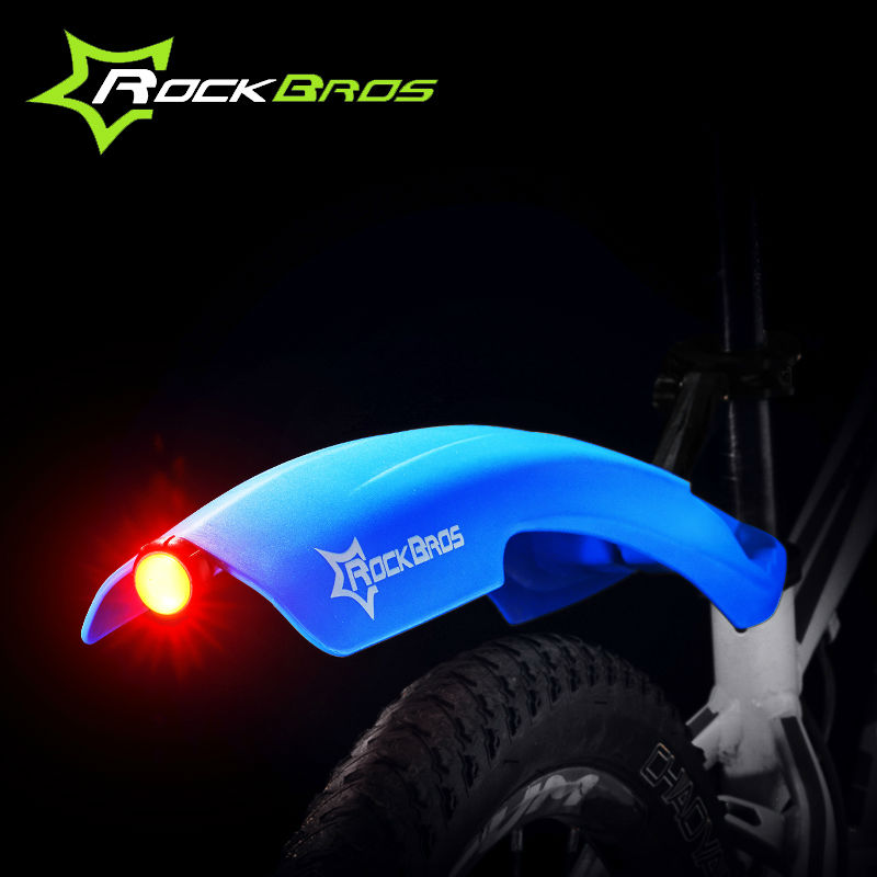 ROCKBROS LED Light Plastic Bike Fender Flectional Mountain Cycling Front Rear LED Mudguard Set Bicycle Durable Fenders With
