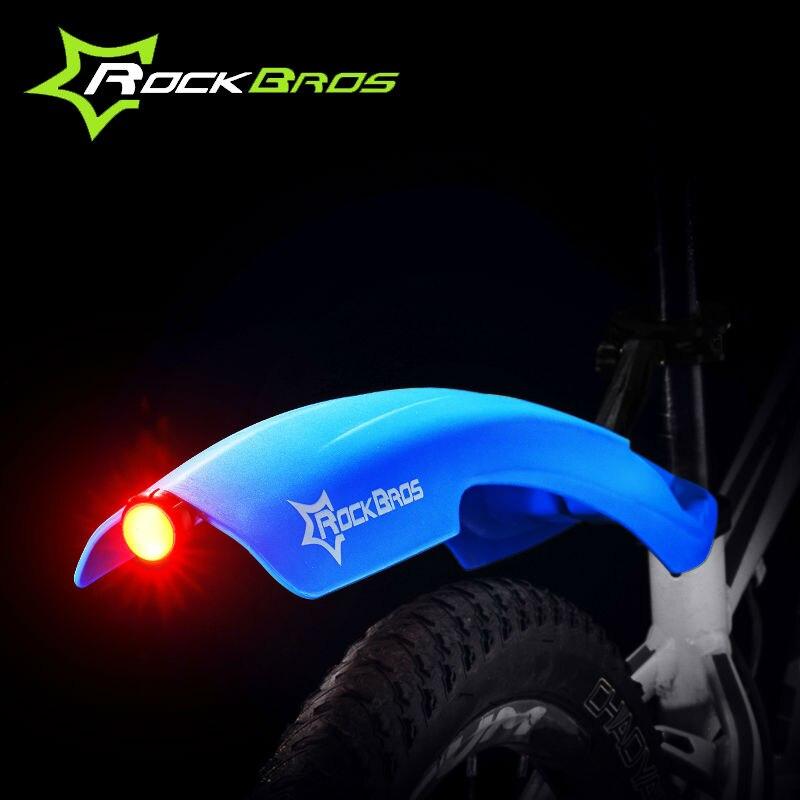 ROCKBROS LED Light Plastic Bike <font><b>Fender</b></font> Flectional Mountain Cycling Front Rear LED Mudguard Set Bicycle Durable <font><b>Fenders</b></font> With