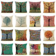 "Amazon/eBay hot sale trees plants print home decorative pillows 18"" square 45x45cm linen cotton pillowcase for car/bed chair G1(China)"