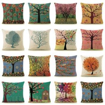 Amazon/eBay hot sale trees plants print home decorative pillows 18″ square 45x45cm linen cotton pillowcase for car/bed chair G1