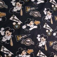 3cfb23ce04dffe Goede 110 cm Brede Zwarte Bodem Cartoon Mickey Katoen Stof Brewers Mickey  Mouse Gedrukt Katoen Stof DIY Naaien Baby Kleding