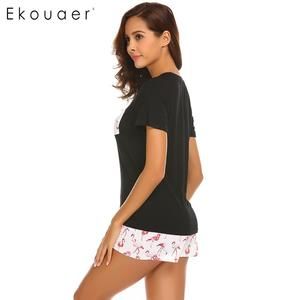 Image 4 - Ekouaer Pajama Set Women Short Sleeve Top Print Shorts Pajamas Set Soft Sleepwear Female Pyjama Set Summer Home Wear 3 Colors
