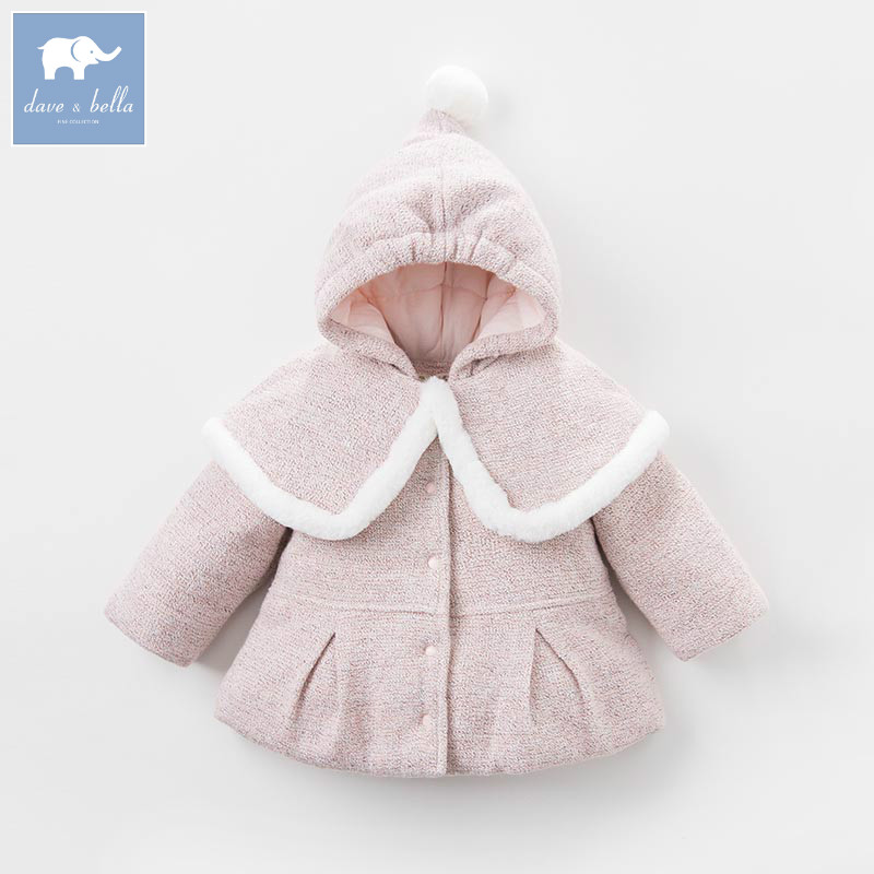 DB5487 dave bella winter baby girl wool Jackets toddler girls Hooded outerwear children hight quality coat girl jackets coat for winter baby girl down