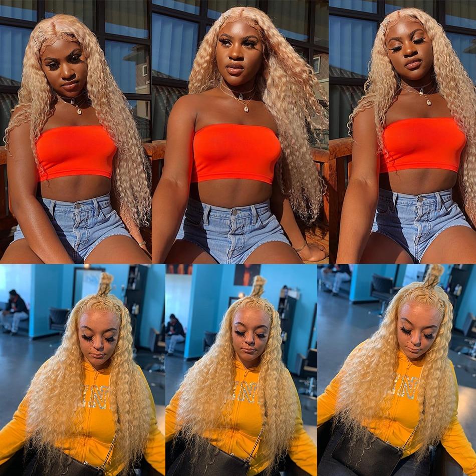 Perruques Brésilienne Longue Vierge Bouclée HD Transparent 613 Blonde