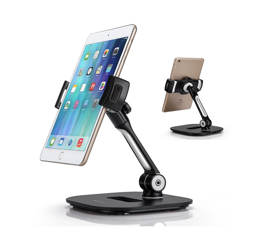 Aluminum Tablet Stand, Cell Phone Stand, Folding 360degree Swivel for iPad iPhone Desk Mount Holder fits 4-11
