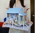 New large DIY Wooden doll house miniature  Happy Coast with 3D LED light Music Furniture Handmade  Toys Gits girls birthday gift