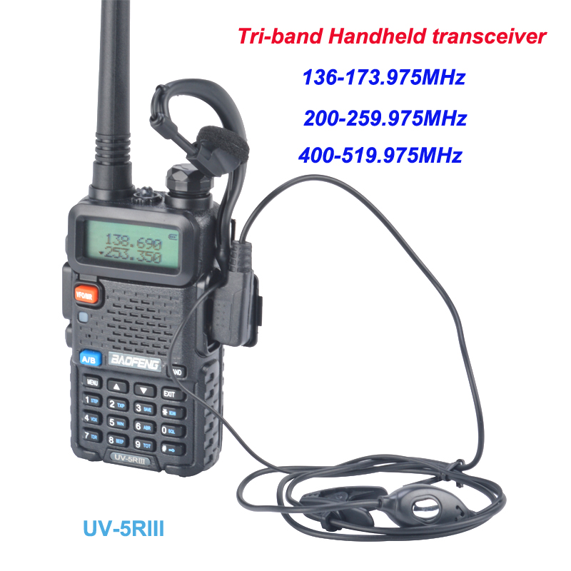 Baofeng Tri-band 136-173.975MHz/200-259.975MHz/400-519.975MHz Baofeng Walkie Talkie UV-5RIII Two Way FM Radio With Handsfree
