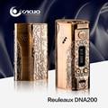 Original wismec reuleaux dna 200 w controle de temperatura electro cigarro mod dna 200 w tc/vw mod bronze prata cor 18650 caixa de mod