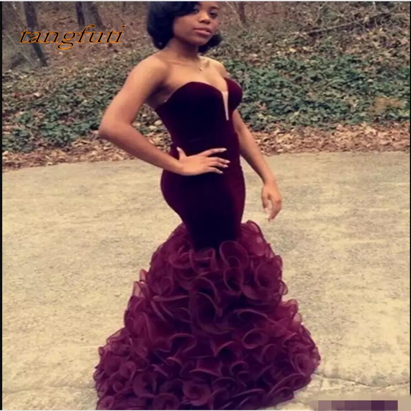 Burgundy Mermaid   Prom     Dresses   African Velvet Evening Gowns Sexy Sweetheart Backless Sheath Ruffles Tiered Organz Celebrity   Dress