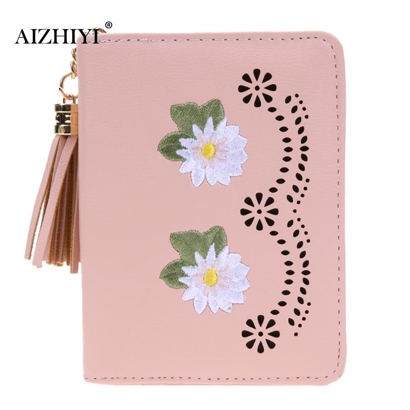 Women Floral Embroidery Coin Purse Fashion Tassel Pendant Short Wallets PU Leather Coin Purses Girls Small Zipper Coin Wallets