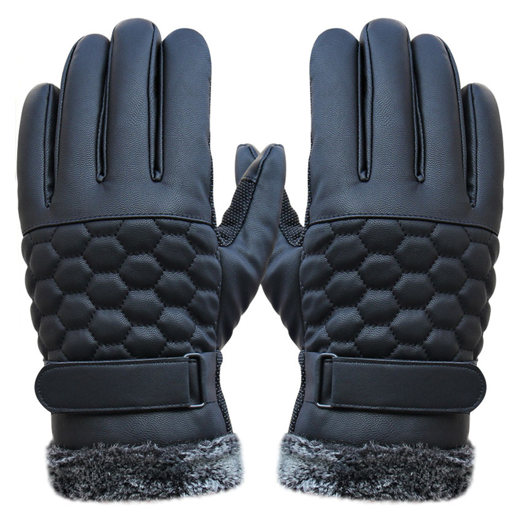 Mens Thick Plush Warm Gloves Winter Leather Touchscreen Glove Spring Anti-Skid Windproof ...