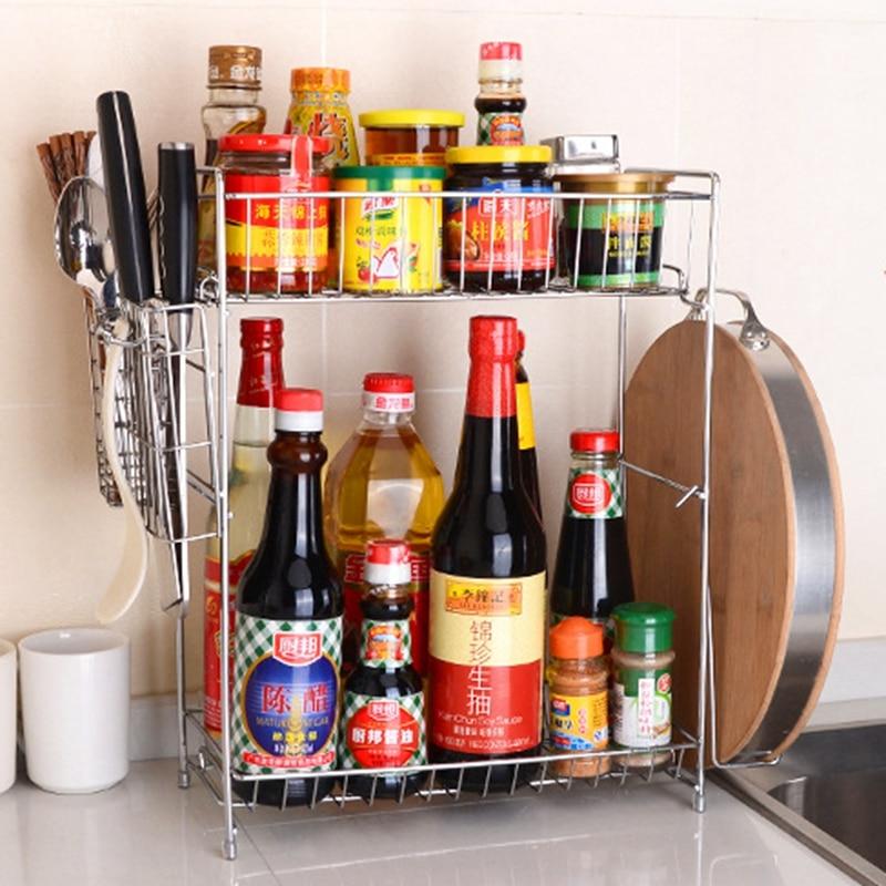 1 sada Bold Dvojvrstvy Ochucení Spice Stojany Stojící s nožem Držák & Řezací deska Rack Kuchyňské držáky stojanů