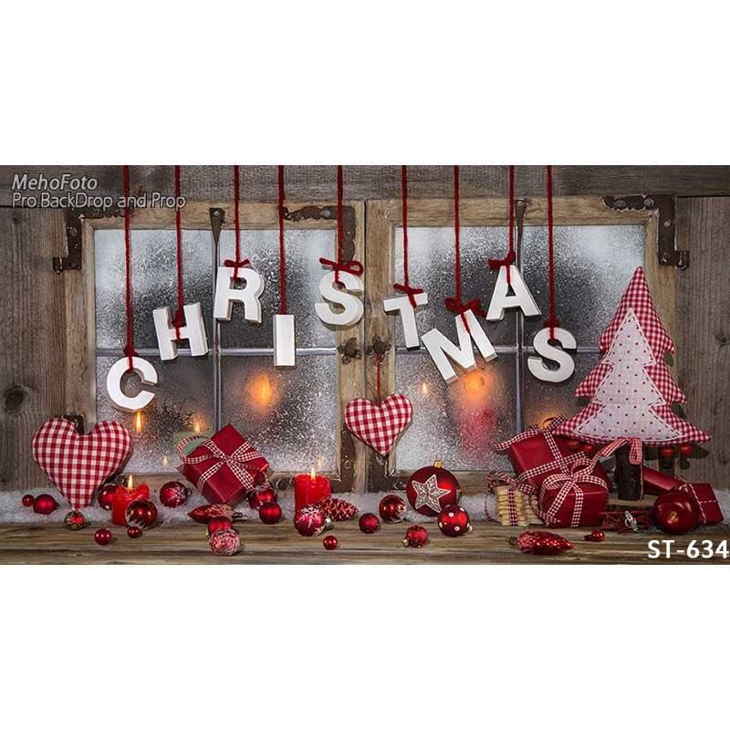 Horizontal vinyl print warm Christmas window photography backdrop for photo studio portrait backgrounds ST-634 8x10ft valentine s day photography pink love heart shape adult portrait backdrop d 7324