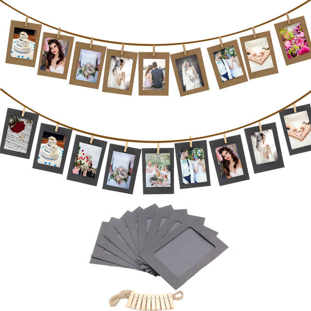 10 Pcs Combination Paper Frame with Clips and 2M Rope 3 Inch Wall Photo Frame DIY Hanging Picture Album Home Decoration