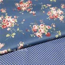 160x50cm Dark Blue Floral Rose Cotton Design Tissus High Quality Tecidos DIY Sewing Craft Cloth Fabric Patchwork Quilts 160g/m