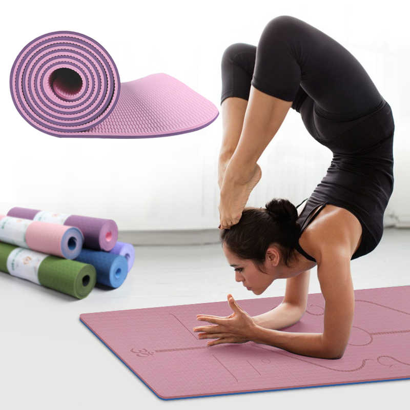 2020 Hot Sale Tpe Fitness Yoga Mat 6mm Non Slip Position Line 183 61 Pad Eco Friendly Tasteless Lose Weight Exercise Health Mat Aliexpress