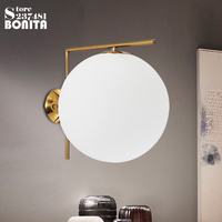 Modern minimalist Nordic glass round sconces wall lamps Iron led Milky white glass ball golden wall lights copper