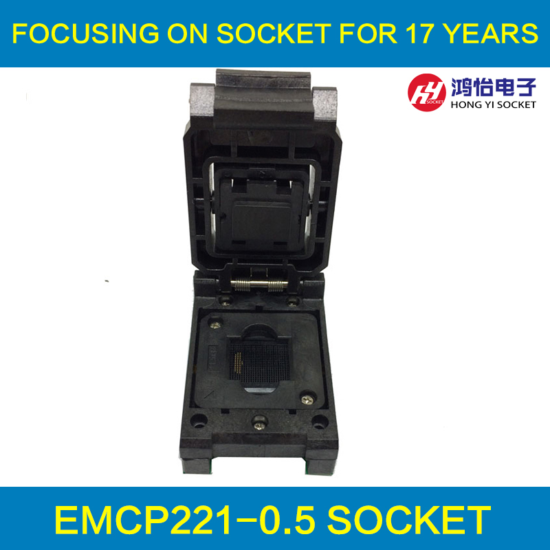 eMCP221 to DIP48 IC Test Socket for BGA 221 testing, size 11.5x13mm, nand flash programmer, Clamshell Burn in Socket Wholesale free shipping program ch2015 usb high speed programmer 300mil fp16 to dip8 socket eeorom spi flash data flash avr mcu programmer