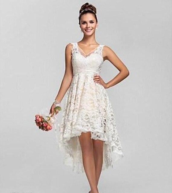 2017 Short Front Long Back Hi Low Lace Boho Short Wedding Dress Robe ...