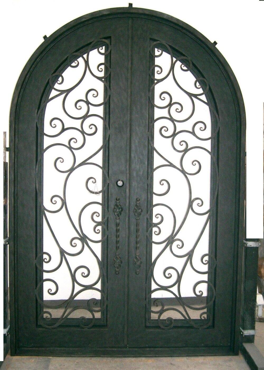 Porte en acier conçoit des portes françaises en bois avec des fenêtres latérales extérieures doubles portes